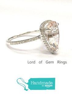 Pear Morganite Engagement Ring Pave Diamond Wedding 14K White Gold 9x11mm from the Lord of Gem Rings https://www.amazon.com/dp/B01GY5B2N8/ref=hnd_sw_r_pi_dp_leVxxb3S56HW8 #handmadeatamazon