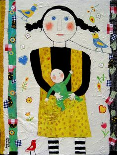 """My Dolly and Me ©Barbara Olsen 18x24 Mixed medium on canvas from """"Memoir"""" series American-Artists.com"""