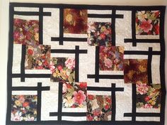 My Mother-in-law makes the most amazing quilts!!   Oriental Black and White Floral Twin Size Quilt on Etsy, $125.00