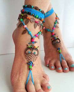 Hippie barefoot sandals, Boho, Blue, Owl, Croched from Art of Rainbow by DaWanda.com