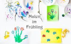 Malen im Frühling mit Kindern und Kleinkindern im Kindergarten. Blumen, Tulpen, Schmetterling, Frühlingsbaum