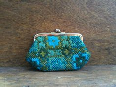 Vintage Welsh Teal Tapestry Purse.