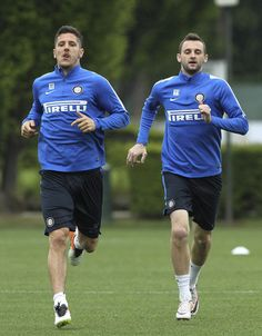 Stevan Jovetic and Marcelo Brozovic - Training ahead of the Lazio match #FCIM #internazionalemilan #InterMilan