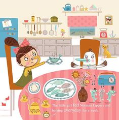 Part one of putting my characters into an environment page spread... other side to come soon 😊 @makeartthatsells .  .  .  .  .  #matskidbook #mymatsprep #makeartthatsells #illustration #illo #kidlit #kidlitart #childrensbooks #childrensbookillustration #character #characterdesign #kitchen #fish #cat #bird #redfootedbooby #ruby #dinner #lunch #tea #cupoftea #seaside #kitchenscene #tablecloth #dungareedress #bun #bow #glasses #cape #katyhalfordillustration