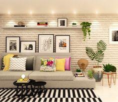 Living Room Decor Fireplace, Living Room Decor Cozy, Home Living Room, Bedroom Decor, Colourful Living Room, Living Room Colors, Modern Tv Room, Living Room Wall Designs, Living Room Decor Inspiration