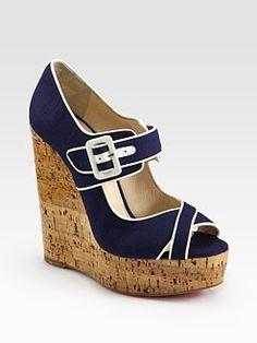 Christian Louboutin  Melides Linen & Cork Wedge Sandals