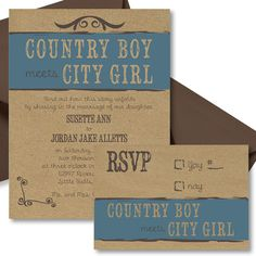 Country Boy Meets City Girl Wedding Invitation by SimplisticStudio, printable or printed