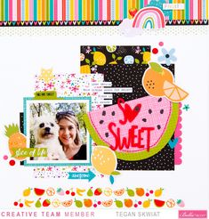 I used the uber fun Bella Blvd Squeeze the Day collection! Scrapbook Layout Sketches, Scrapbook Pages, Scrapbooking Ideas, Sweet Puns, Fruit Love, Fruit Icons, Image Layout, Pattern Paper, Scrapbooks