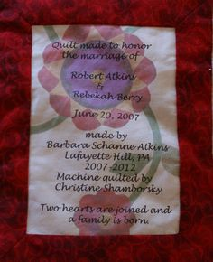 Label for wedding quilt.