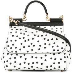 Dolce & Gabbana Polka Dot Sicily Shoulder Bag (30.289.355 IDR) ❤ liked on Polyvore featuring bags, handbags, shoulder bags, white purse, genuine leather purse, metallic leather handbags, top handle handbags and metallic shoulder bag