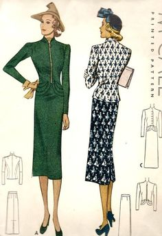 McCall 9628 | ca. 1938 Misses' Two-Piece Suit