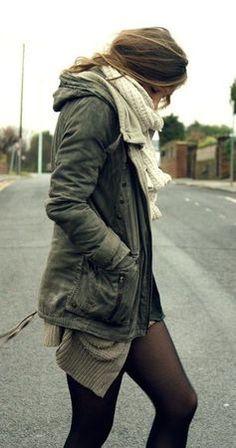 #winter #fashion / military green jacket
