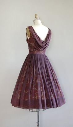 Love the back vintage 50s dress / 1950s dress / silk chiffon / by DearGolden #womenscardigan #womensouterwear #womensjacket #scarves #scarf #fashion
