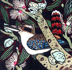 Hand coloured linocut by Tasmanian artist Kit Hiller