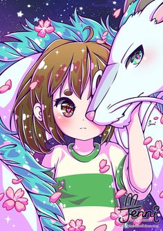 Chihiro & Haku 🐉💖 Spirited Away . Kawaii 365, Manga Kawaii, Cute Kawaii Drawings, Cute Animal Drawings, Anime Chibi, Anime Art, Personajes Studio Ghibli, Chihiro Y Haku, Cute Kawaii Animals