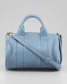 Rocco Stud-Bottom Satchel Bag, Mercury Light Blue/Yellow Golden by Alexander Wang at Neiman Marcus.