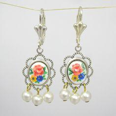 Øreringe med blomster og perler