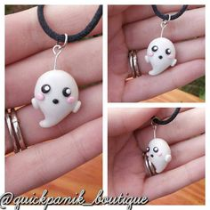 This little Ghost, made of Polymer clay is just adorable. It both shimmers and glows in the dark! It screams Kawaii!  This pendant comes on a black