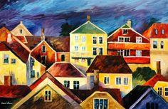 """Blick von oben — Spachtel Stadtbild modernen Wall Art Decor Ölgemälde auf Leinwand von Leonid Afremov - Größe: 36 """"x 24"""" (90 cm x 60 cm) von AfremovArtStudio auf Etsy https://www.etsy.com/de/listing/193561943/blick-von-oben-spachtel-stadtbild"""