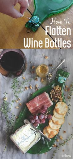 These flatten wine bottles make perfect serving trays for your cheese and meats . - These flatten wine bottles make perfect serving trays for your cheese and meats . These flatten wine bottles make perfect serving trays for your che. Wine Bottle Art, Wine Bottle Crafts, Recycle Wine Bottles, Diy With Wine Bottles, Decorating Wine Bottles, Melted Wine Bottles, Diy Projects With Wine Bottles, Crafts With Glass Bottles, Wine Bottle Decorations