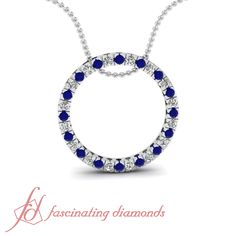 Floating Circular Pendant || Blue Sapphire Pendant In 14K White Gold. #pendantsonline #designerdiamondpendants #uniquediamondpendant