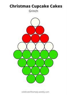 How the Grinch Stole Christmas Pull-Apart Cupcake Cake Template Christmas Cupcake Cake, Christmas Cupcakes Decoration, Grinch Christmas Party, Grinch Party, Christmas Snacks, Christmas Goodies, Christmas Cakes, Xmas, Holiday Treats