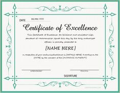 Certificate Of Excellence For MS Word DOWNLOAD At  Http://certificatesinn.com/  Certificate Template Word
