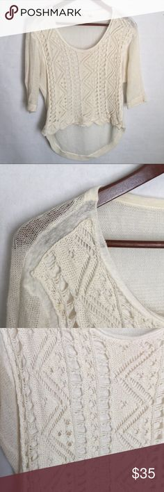 ✨NEW Listing✨{Anthropologie} Moth hi-lo sweater {Anthropologie} Moth brand hi-lo cream sweater in lightweight knit. Open weave design panel on the front. Size is XXS petite. Not interested in trades. Anthropologie Sweaters Crew & Scoop Necks