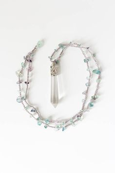 Fluorite necklace with clear crystal Boho crystal necklace Long pendant necklace Layering jewelry Boho jewelry Crochet necklace by ElvishThings