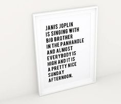Janis Joplin High Sunday, Black and White Quote Printable Wall Art Poster, Joan Didion Quotes, Typography Gallery Wall, Gifts for Readers