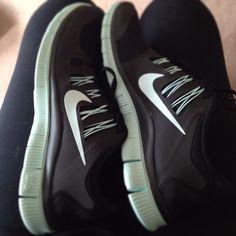 Mint green & black Nike's<3