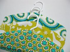 Items similar to fabric covered hangers children's set of three aqua lime yellow zoo print on Etsy Sewing Tips, Sewing Hacks, Sewing Ideas, Sewing Crafts, Sewing Projects, Fun Diy Crafts, Crafts To Make, Fabric Covered Hangers, Diy Ideas