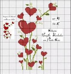 Easy Cross Stitch Patterns, Cross Stitch Heart, Simple Cross Stitch, Cross Stitch Flowers, Cross Stitch Designs, Cross Stitching, Cross Stitch Embroidery, Book Markers, Christmas Cross