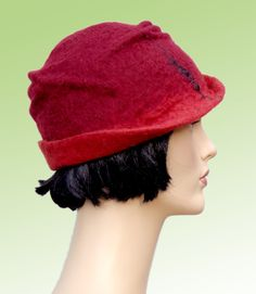 1920 retro fashion style hat, red felt cloche with silk,1920s inspired hat, winter women hat
