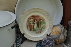 Vintage Plate Colonial Early American Hearth Scene