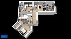 Uno schema colori composto da bianco, rovere e antracite per gli ambienti contemporanei, luminosi e accoglienti di questo appartamento. Abbiamo progettato spazi capaci di adattarsi alla quotidianità di una giovane famiglia.