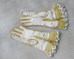antique doll gloves   ... Antique Leather Doll Gloves Accessory For German or French Bebe doll