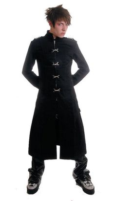 I love goth men's fashion.  This trench coat looks great but not with those shoes. And I don't know what is up with this guy but he has got to go! LOL.