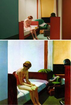 above left: original paintings by Edward Hopper and above right, the set designs for Shirley – Visions of Reality. Director Gustav Deutsch brings 13 Hopper paintings to life in his film, Shir… Shirley Visions Of Reality, Old Paintings, Original Paintings, Edward Hopper Paintings, Appropriation Art, Tableaux Vivants, Art Challenge, American Artists, Figurative Art