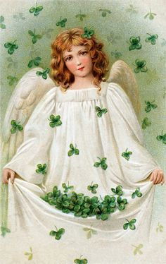 An angel with beautiful shamrocks