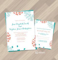Download the Summer petals wedding invitation printable here. Source: Printable Invitation Kits