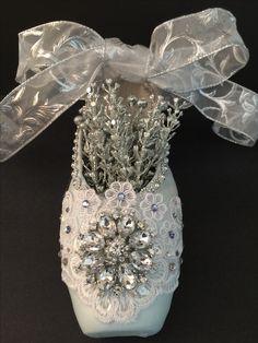 Elegant Snow Queen decorated pointe shoe