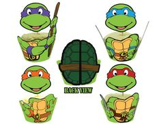 Teenage Mutant Ninja Turtles Cupcake Toppers Wrappers – Birthday Party Printables. $8.00, via Etsy.