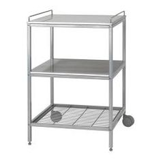 IKEA - UDDEN, Carrinho de cozinha, Oferece uma superfície de trabalho extra e mais espaço de uso e de arrumação.O carrinho tem 2 pés reguláveis e 2 pés com rodízios; fácil de deslocar e deslizar para baixo da bancada de trabalho UDDEN.Prateleira superior e 1 prateleira fixa em aço inoxidável, um material resistente e duradouro que é fácil de limpar.1 prateleira metálica fixa para guardar tachos, panelas, erc.As calhas também podem ser usadas para pendurar toalhas.