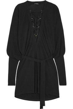 Balmain - Lace-up Crepe Mini Dress - Black - FR42