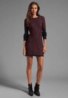 Long Sleeve Sweater Dress in Wine/Black on Wantering
