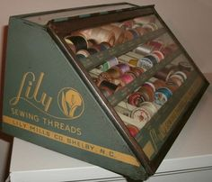 """Vintage Early 20th Century """"Lily Sewing Threads"""" Advertising Spool Cabinet - Thread Display Case"""