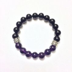 Focus - Men's Genuine Sterling Silver Amethyst & Black Onyx Bracelet - Positive Energy