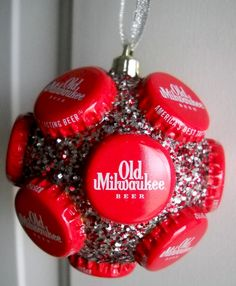 Old Milwaukee beer bottle cap ornament by jennaevesblocks on Etsy Recycled Christmas Decorations, Diy Christmas Ornaments, How To Make Ornaments, Holiday Crafts, Redneck Christmas, Tacky Christmas, Christmas Hacks, Xmas, Christmas Stuff