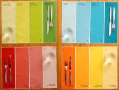 Avril Loreti's paint-chip placemats. So colourful!